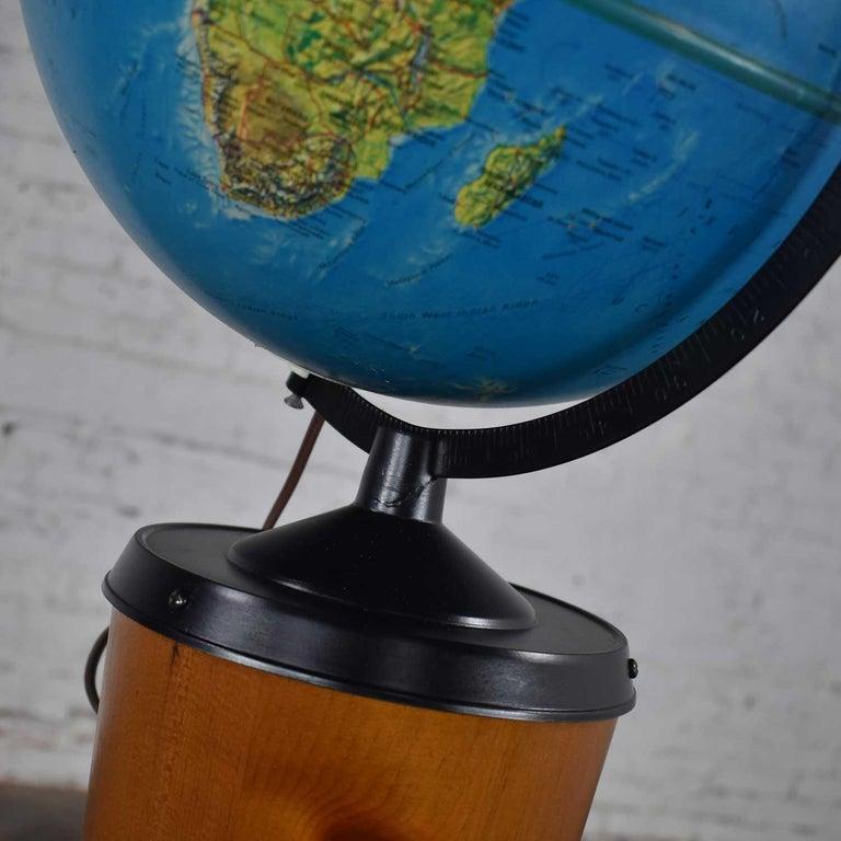 MCM Repogle World Horizon Series Lighted World Globe on Custom Pine Stand For Sale 3