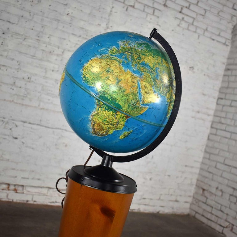 MCM Repogle World Horizon Series Lighted World Globe on Custom Pine Stand For Sale 4