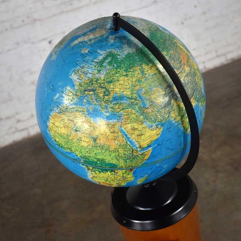 MCM Repogle World Horizon Series Lighted World Globe on Custom Pine Stand For Sale 6