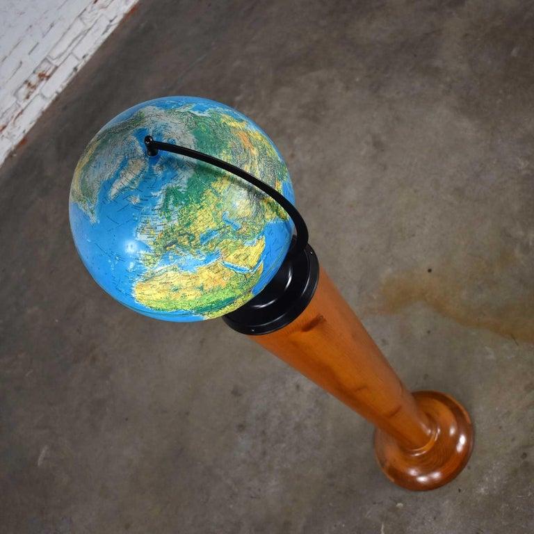 MCM Repogle World Horizon Series Lighted World Globe on Custom Pine Stand For Sale 7