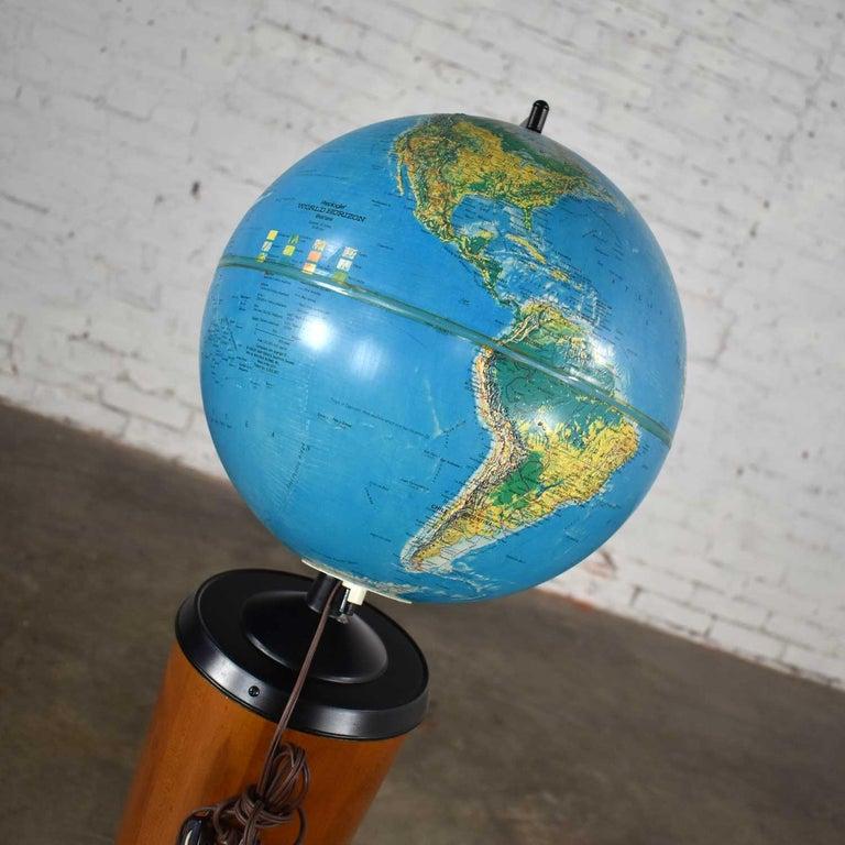 MCM Repogle World Horizon Series Lighted World Globe on Custom Pine Stand For Sale 8