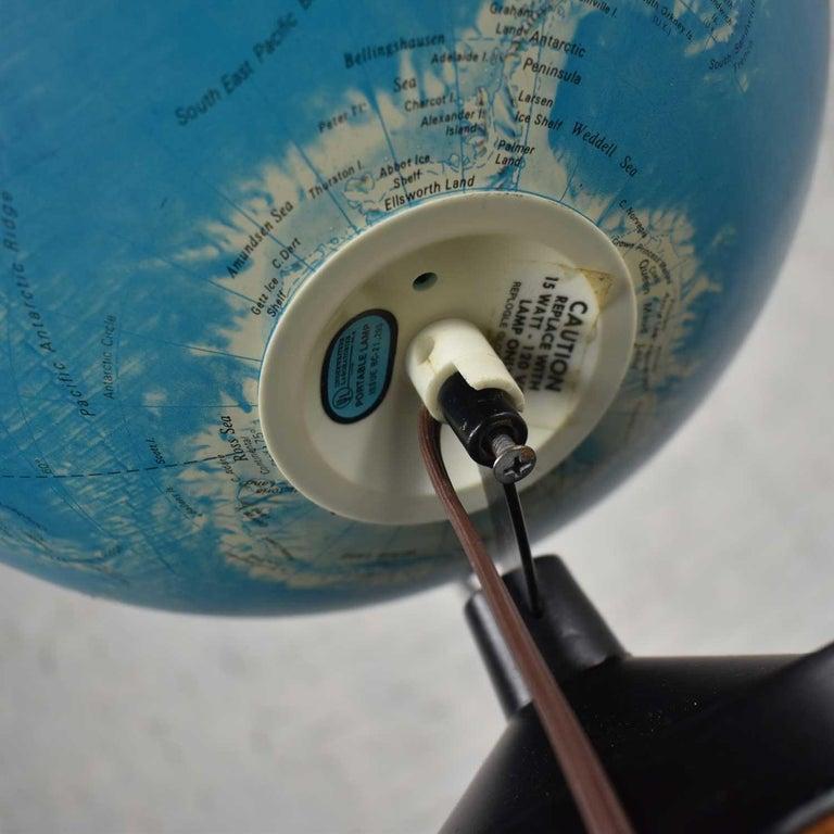 MCM Repogle World Horizon Series Lighted World Globe on Custom Pine Stand For Sale 9