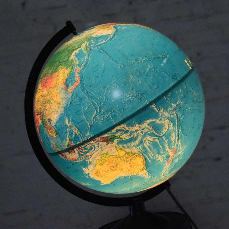 MCM Repogle World Horizon Series Lighted World Globe on Custom Pine Stand For Sale 10