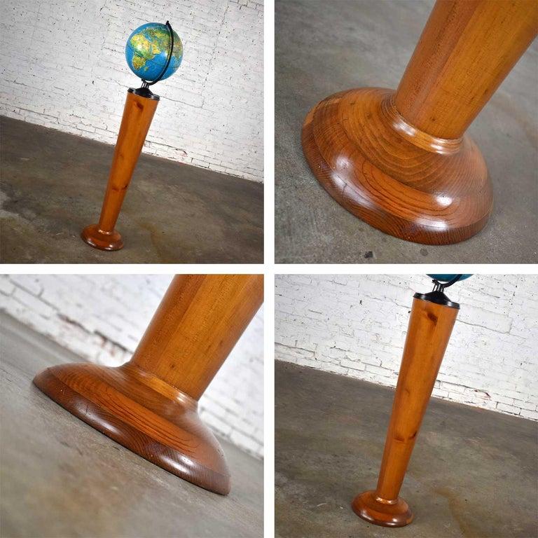 MCM Repogle World Horizon Series Lighted World Globe on Custom Pine Stand For Sale 11