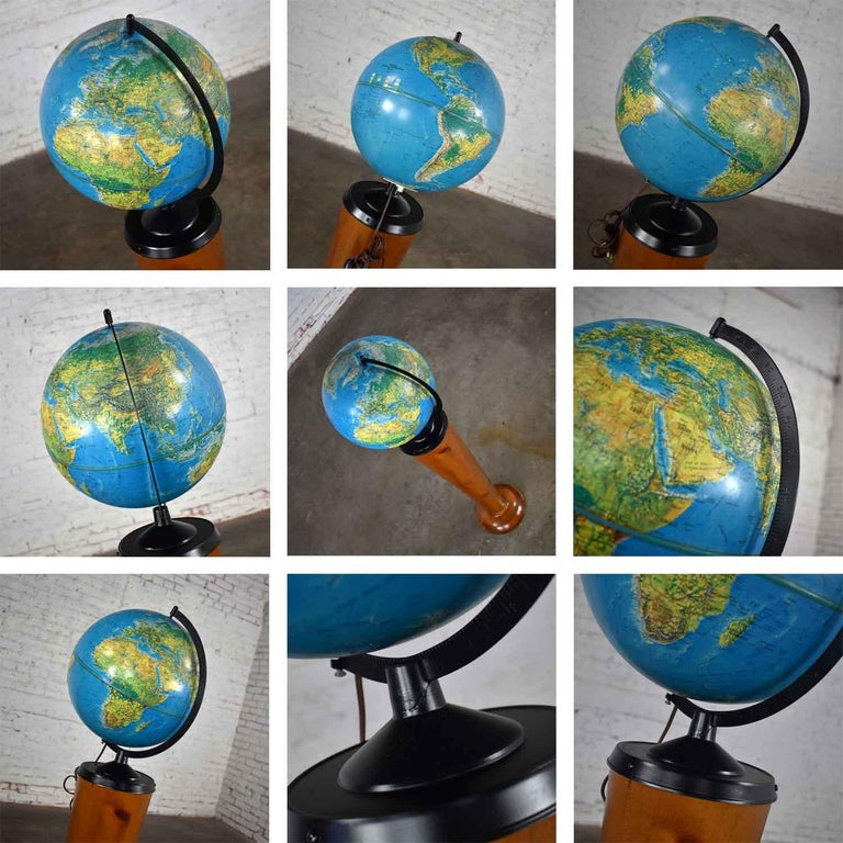 MCM Repogle World Horizon Series Lighted World Globe on Custom Pine Stand For Sale 12
