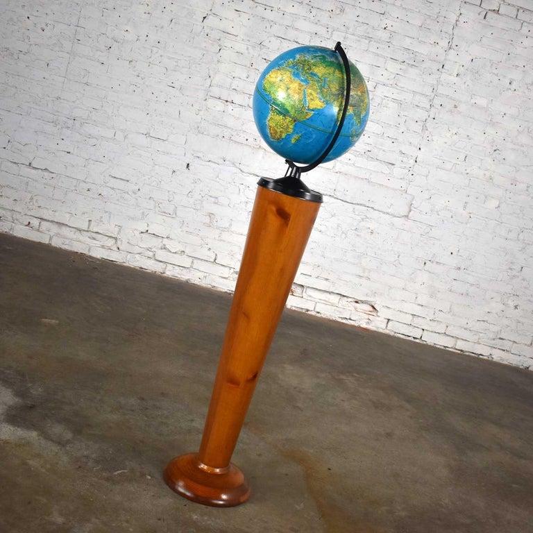 Mid-Century Modern MCM Repogle World Horizon Series Lighted World Globe on Custom Pine Stand For Sale