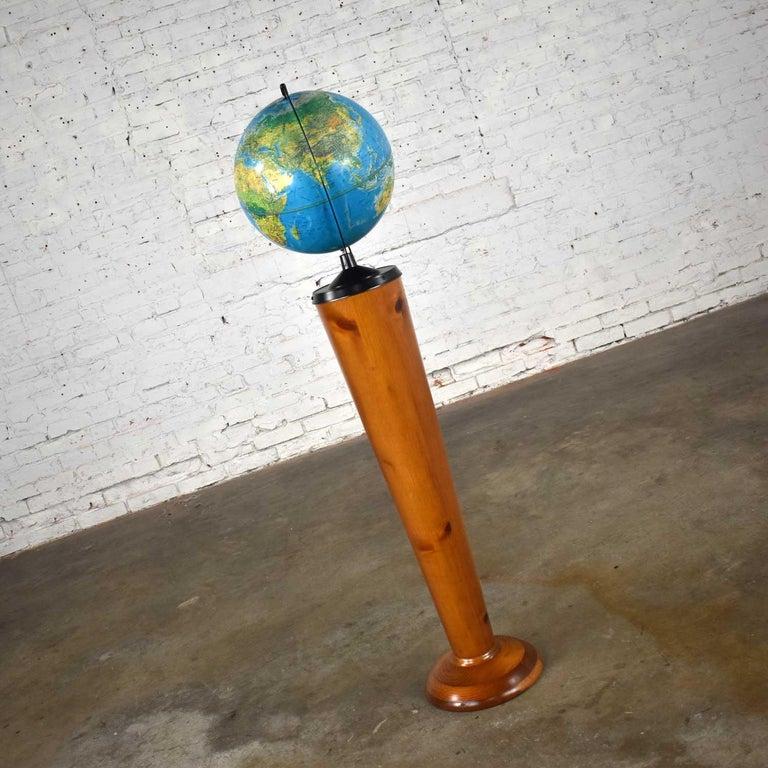 American MCM Repogle World Horizon Series Lighted World Globe on Custom Pine Stand For Sale