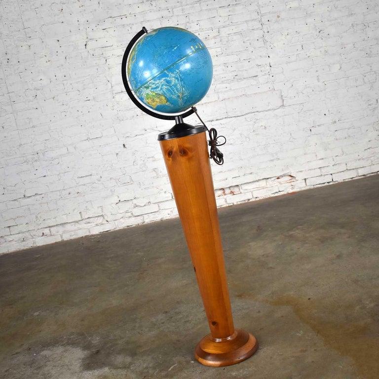 Turned MCM Repogle World Horizon Series Lighted World Globe on Custom Pine Stand For Sale