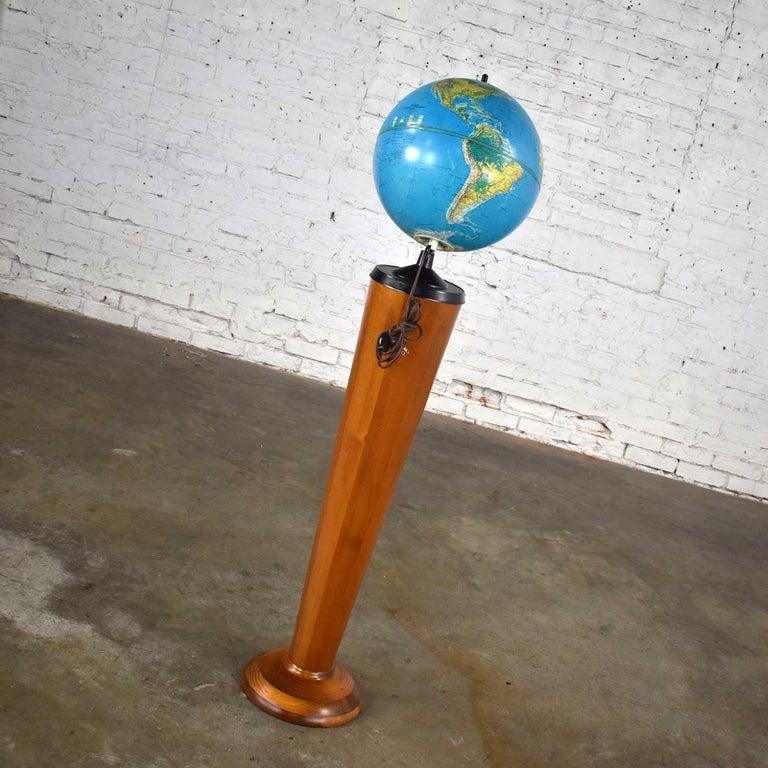 20th Century MCM Repogle World Horizon Series Lighted World Globe on Custom Pine Stand For Sale