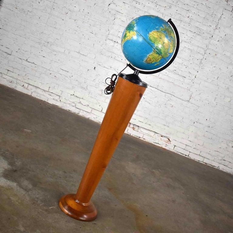 MCM Repogle World Horizon Series Lighted World Globe on Custom Pine Stand For Sale 1