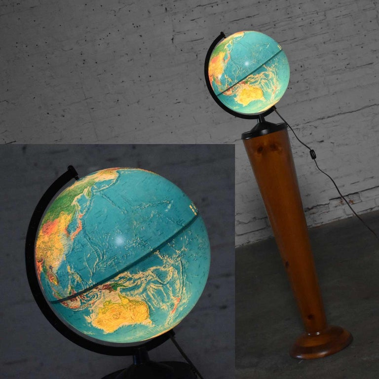 MCM Repogle World Horizon Series Lighted World Globe on Custom Pine Stand For Sale 2