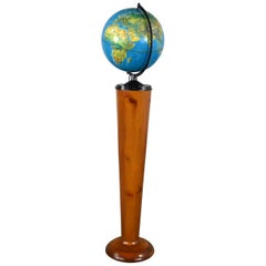 MCM Repogle World Horizon Series Lighted World Globe on Custom Pine Stand
