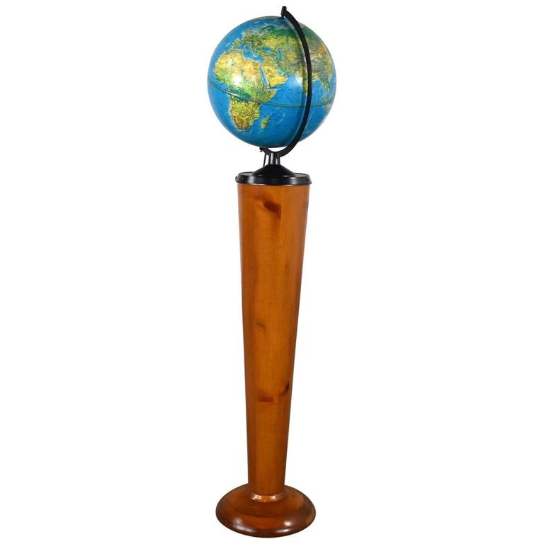 MCM Repogle World Horizon Series Lighted World Globe on Custom Pine Stand For Sale