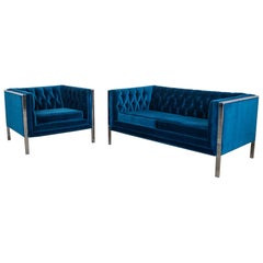 MCM Royal Blue Velvet and Chrome Cube Loveseat and Chair after Milo Baughman