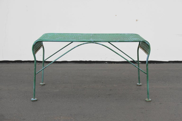 Vintage Mid-Century Modern Salterini garden or patio bench. Can be blasted, primed and painted for additional $175. In the style of Woodard.