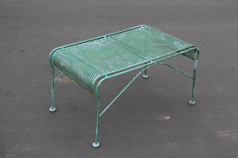 American MCM Salterini Wrought Iron Patio or Garden Bench For Sale