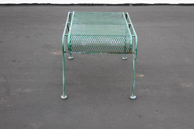 Painted MCM Salterini Wrought Iron Patio or Garden Bench For Sale