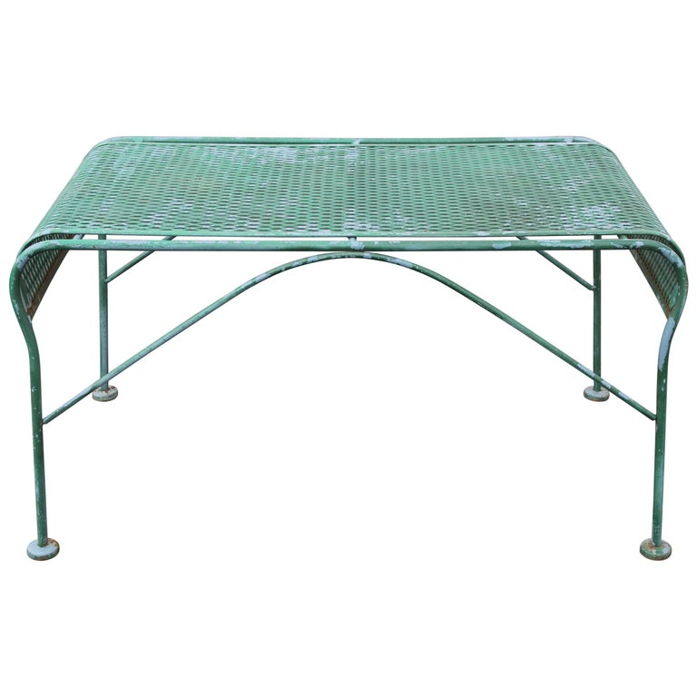 MCM Salterini Wrought Iron Patio or Garden Bench For Sale