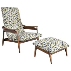 MCM Scandinavian Modern Style High Back Lounge Chair & Ottoman Attr Home Chair