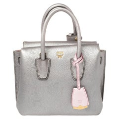 MCM Silver Leather Mini Milla Tote
