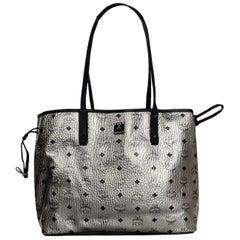 MCM Silver Monogram Coated Canvas Visetos Medium Reversible Shopper Tote Bag