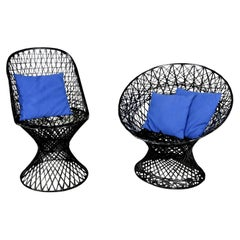 MCM Spun Fiberglass Outdoor Chairs Mismatched Pair 1 Slipper & 1 Hoop Chair