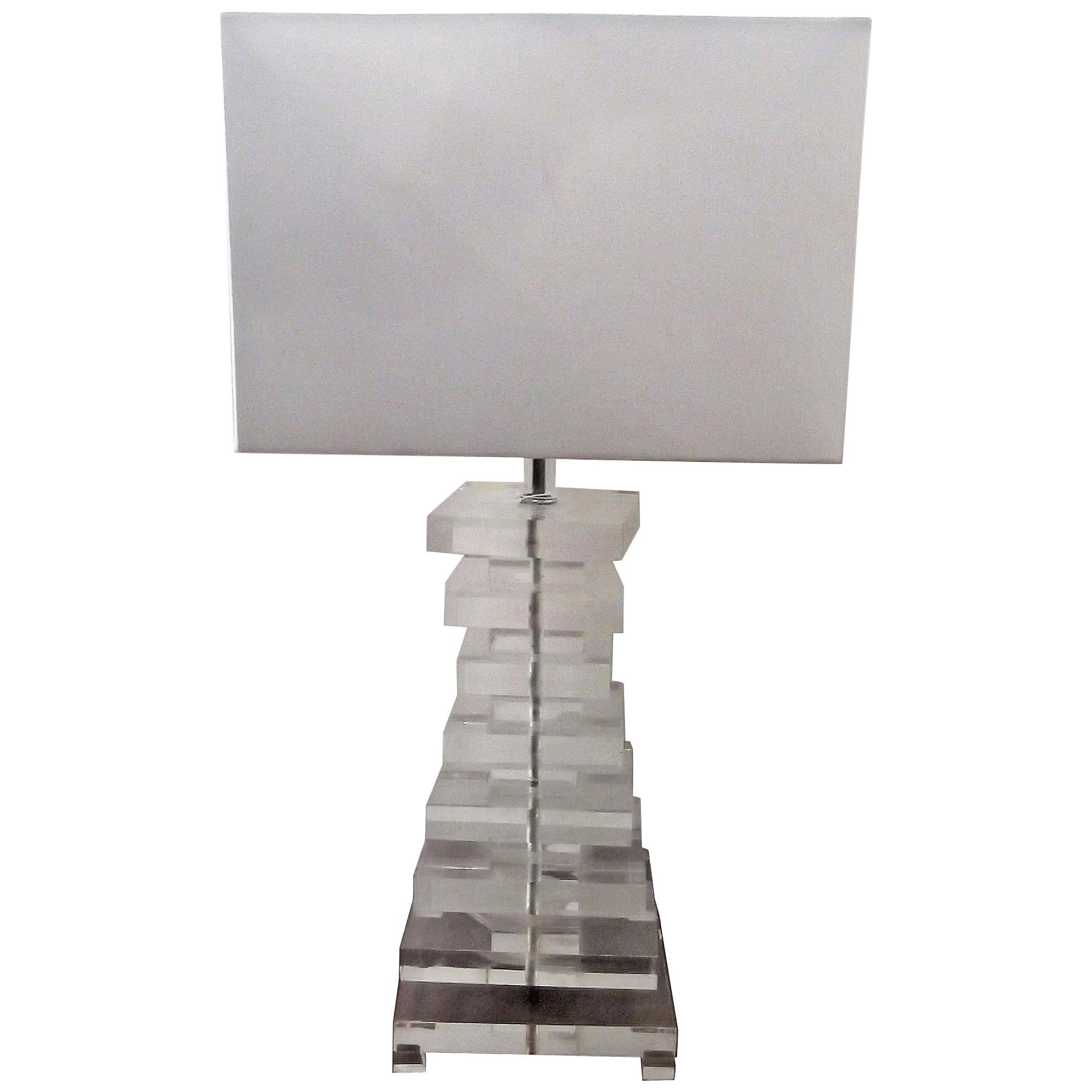 MCM Stacked Lucite Lamp in Karl Springer Style