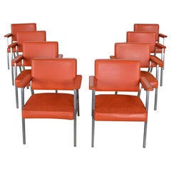 MCM Steelcase Coral Vinyl Fabric and Brushed Steel Dining Armchairs Set of 8