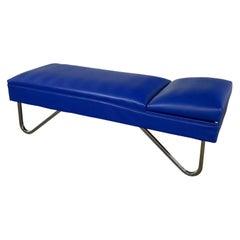 MCM Streamline Modern Industrial Royal Blue Vinyl & Chrome Adjustable Chaise