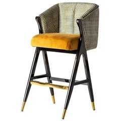 MCM Style Black Lacquer Wooden and Velvet Bar Stool
