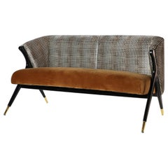 Mid-Century Modern Style Black Lacquer Wooden and Velvet Sofa