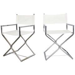 MCM Style Directors Chairs White Chrome Attr Robert Kjer Jakobsen & Virtue Bros