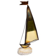 MCM Tall Brass Copper and Onyx Sailboat Nautical or Maritime Sculpture, Demott