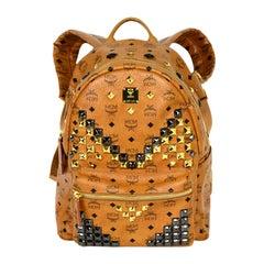 MCM Tan Monogram Star M Stud Large Backpack Bag