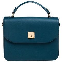 MCM Teal Leather Flap Top Handle Bag