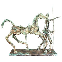 MCM Unique Artist Signed Verdigris Finished Don Quixote Man and Horse Sculpture