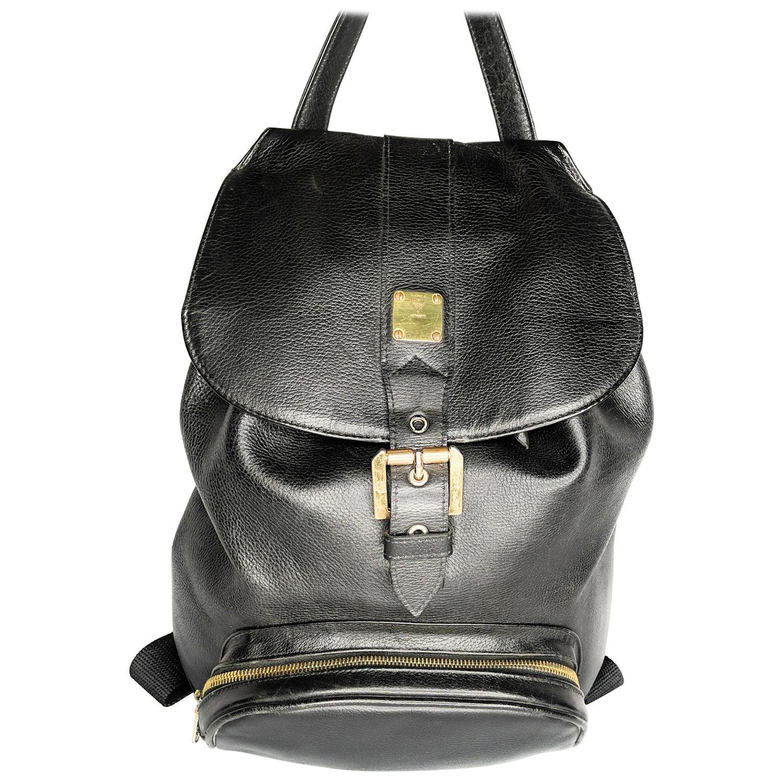 MCM Vintage Black Genuine Calfskin Leather Unisex Backpack