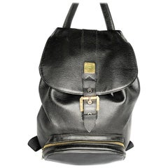 MCM Vintage Black Genuine Calfskin Leather Unisex Backpack