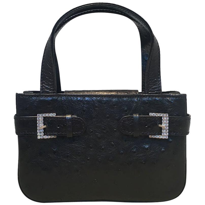 MCM Vintage Mini Black Ostrich Handbag with Rhinestone Buckles