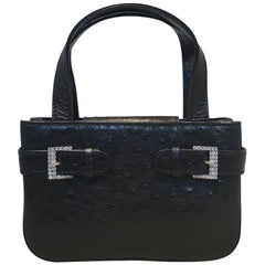 MCM Vintage Mini Black Ostrich Handbag with Rhinestone Buckles