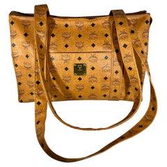 MCM Visetos Leather Shoulder Bag/ Luggage bag Beiges PVC Serial # P7357 Medium