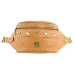 MCM Waist Cognac Studded  Pack Belt Pouch 10mcz1812 Brown Leather Cross Body Bag