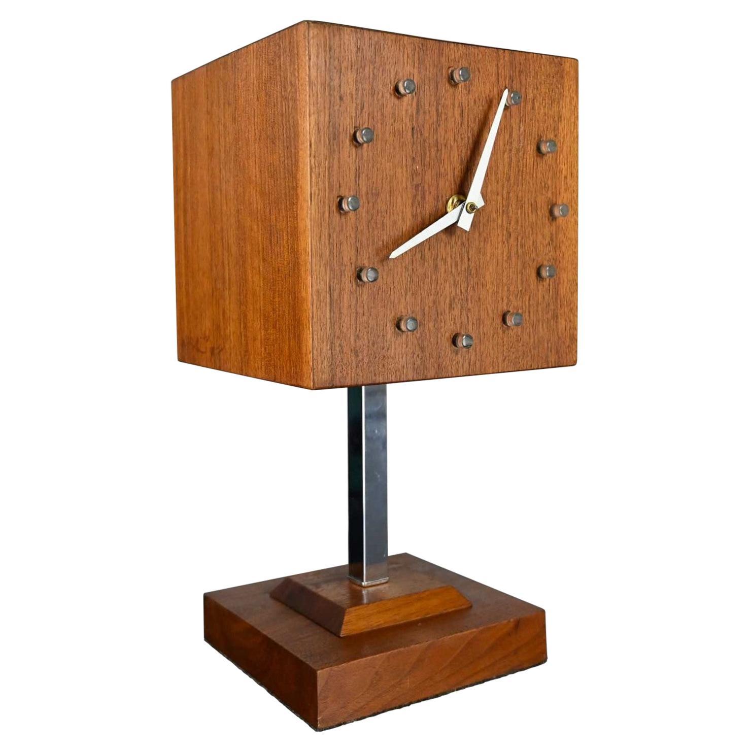 MCM Walnut & Chrome Cube Clock Lamp by V. H. Woolums Style Howard Miller Clocks