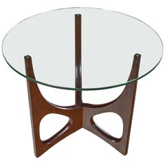 MCM Walnut Tri-Leg Round Glass Top Side Table in the Style of Adrian Pearsall