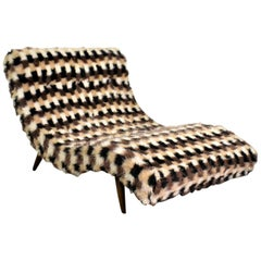 MCM Wave Chaise Lounge Style of Adrian Pearsall Original Faux Fur Upholstery