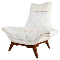 MCM White Faux Leather Walnut Base High Back Lounge Chair Style Adrian Pearsall