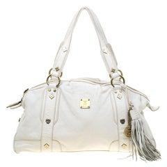 MCM White Leather Tassel Satchel
