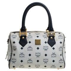 MCM White Visetos Leather Small Heritage Boston Bag