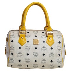MCM White/Yellow Visetos Leather Small Heritage Boston Bag