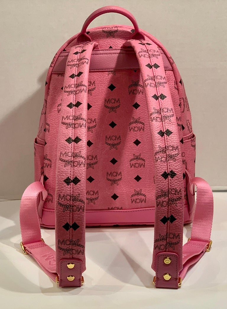 Women's or Men's MCM Worldwide Medium Stark Backpack Pink and Black Visetos with Gold Studs For Sale